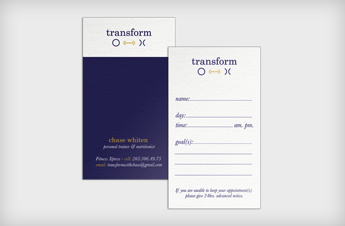 Transform Personal Training : Business Appointment Cards